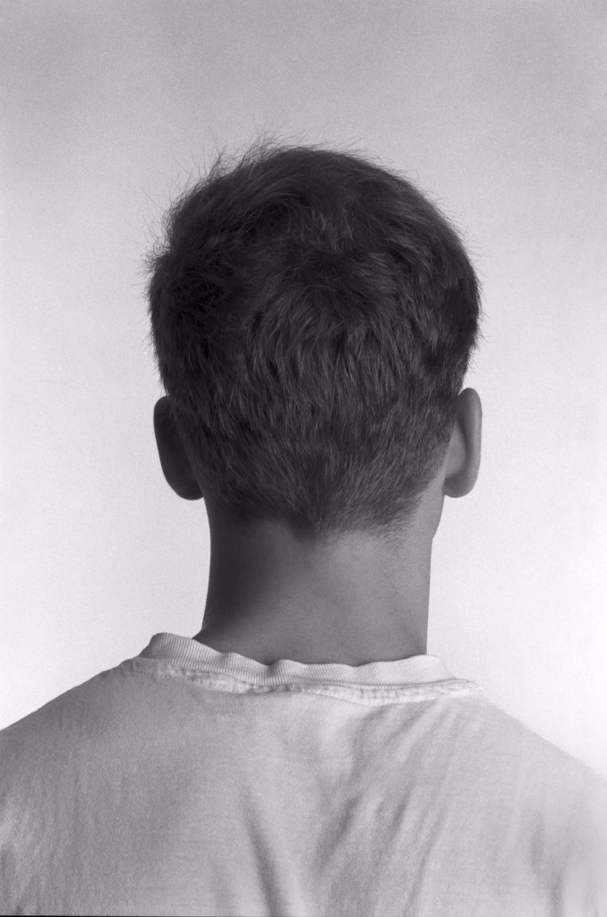 Head and Shoulders of Young Man, Rear View : Stock Photo