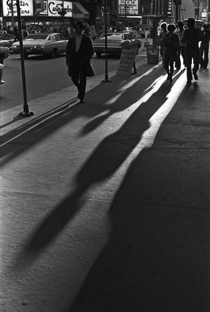 Streetscene and Shadows, Chicago, Illinois, USA : Stock Photo