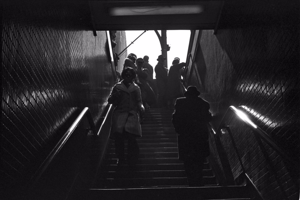Stock Photo: 1838-13221 People on Subway Stairs, Chicago, Illinois, USA