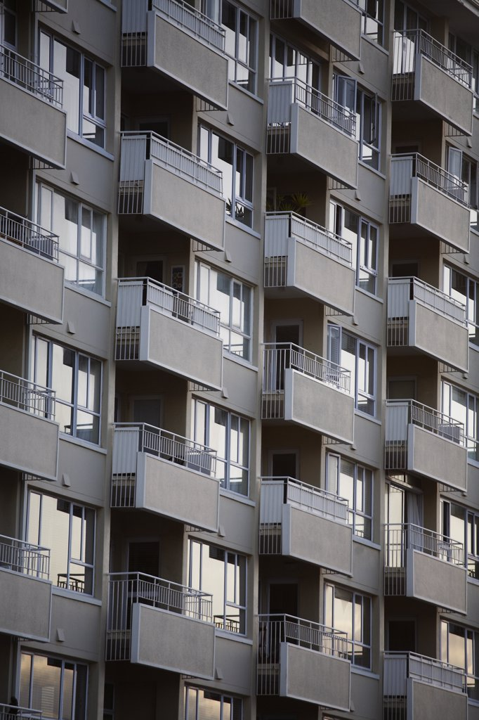 Stock Photo: 1838-13313 Apartment Building With Balconies, Cape Town, South Africa