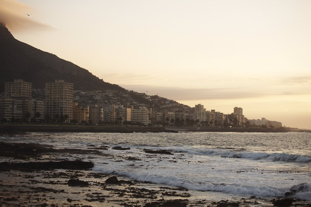 Stock Photo: 1838-13317 Apartment Buildings Along Beachfront, Cape Town, South Africa