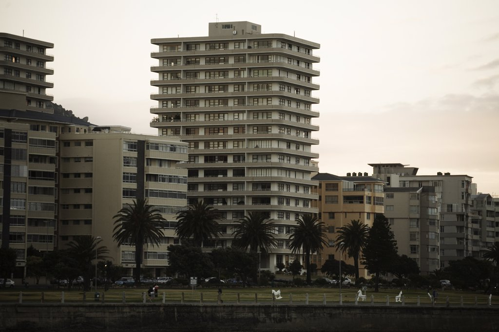 Stock Photo: 1838-13323 Apartment Buildings Along Beachfront, Cape Town, South Africa