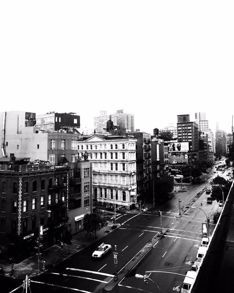 Urban Street Scene, High Angle View, New York City, USA : Stock Photo