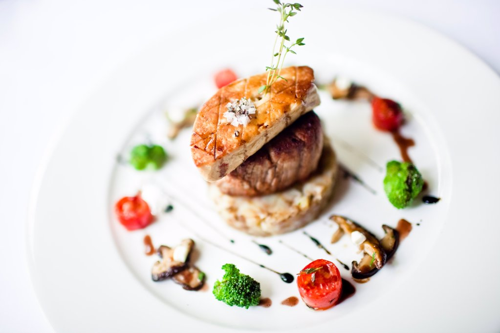 Stock Photo: 1838-13623 Beef Tenderloin With Seared Foie Gras and Grilled Vegetables