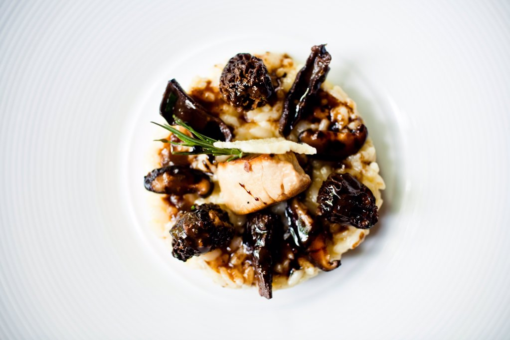 Stock Photo: 1838-13624 Risotto With Morel Mushrooms, Foie Gras and Parmesan Cheese