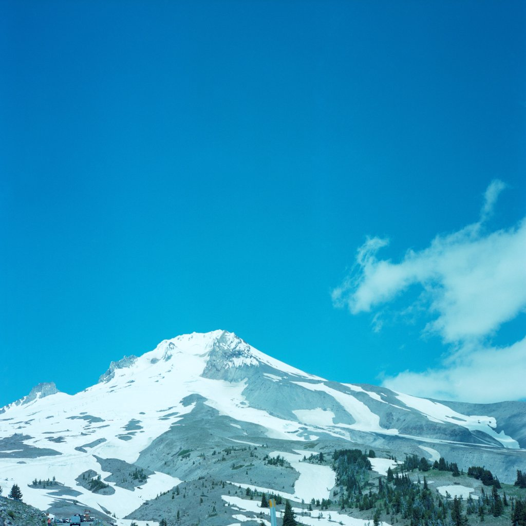 Stock Photo: 1838-13678 Snow-Covered Mountain Against Blue Sky, Bend, Oregon, USA