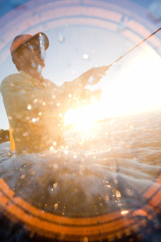 Stock Photo: 1838-13719 Man Flyfishing