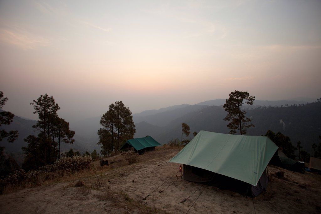Tent on Mountaintop at Sunrise, India : Stock Photo