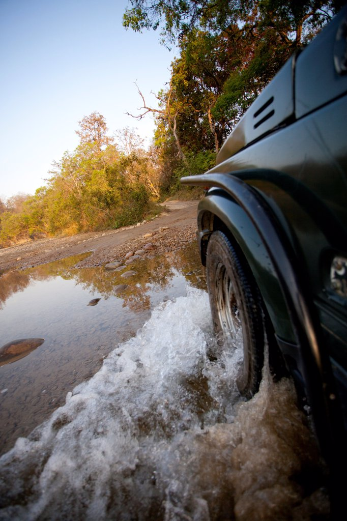 Stock Photo: 1838-13730 Jeep Driving Through Puddle in Dirt Road, India