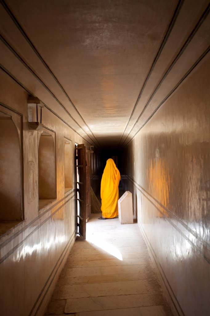 Robed Woman in Hallway, India : Stock Photo