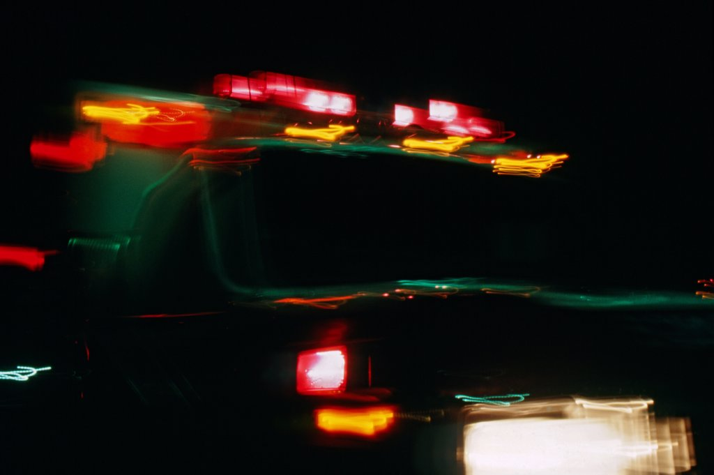 Blurred Ambulance at Night : Stock Photo