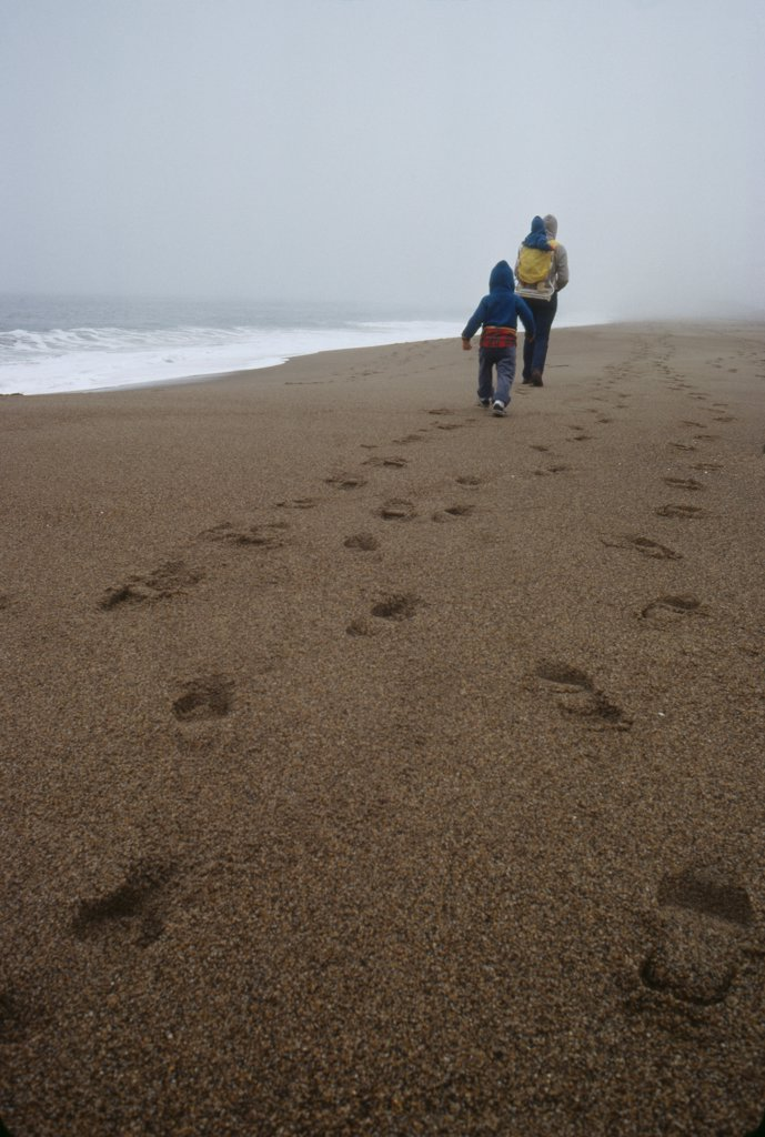 Stock Photo: 1838-13747 Family Walking on Foggy Beach