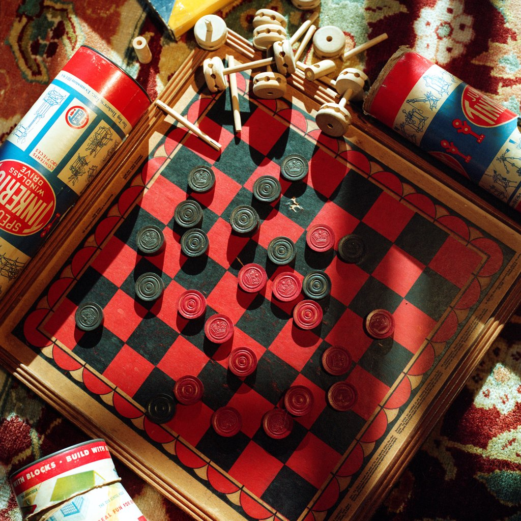 Stock Photo: 1838-13910 Checkers and Checkerboard, High Angle View