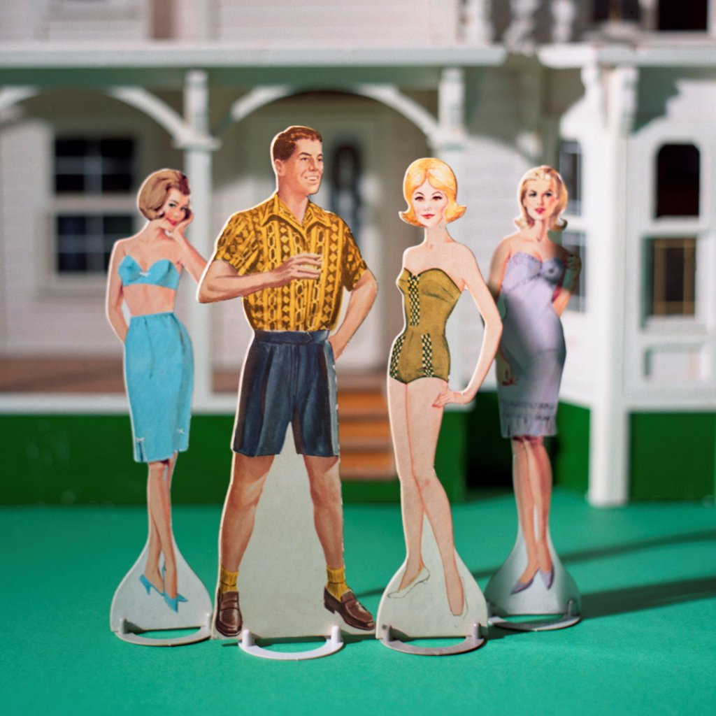 Stock Photo: 1838-13929 Male and Three Female Paper Dolls