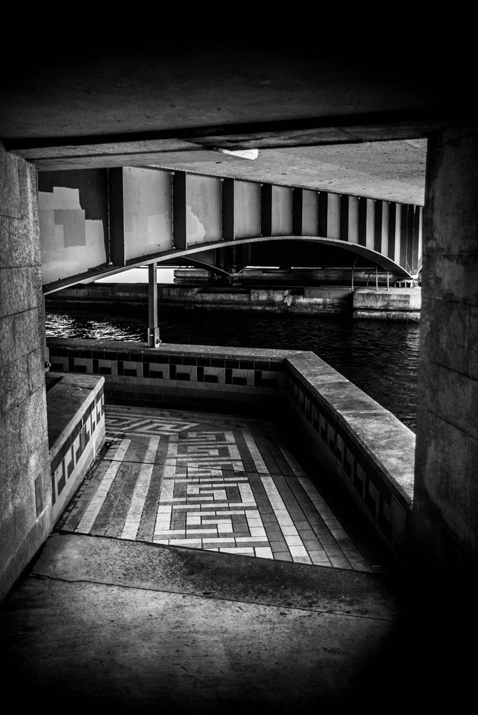 Stock Photo: 1838-13944 Geometric Shapes Under Bridge by Limmat River, Zurich, Switzerland