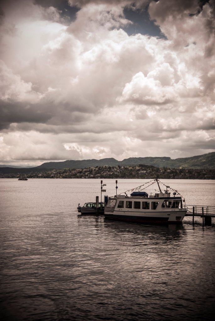 Docked Boat in Limmat River, Zurich, Switzerland : Stock Photo