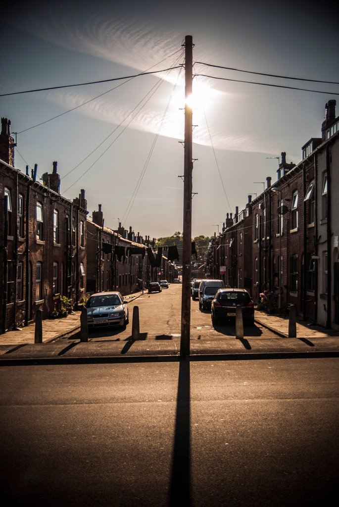 Stock Photo: 1838-13988 Street Scene in Dramatic Light, Leeds, England, UK