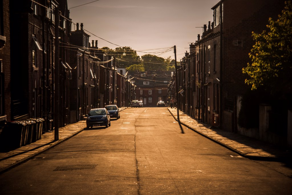 Street Scene in Warm Afternoon Light, Leeds, England, UK : Stock Photo