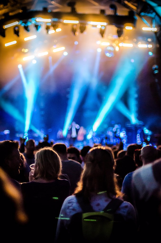 Concert Crowd and Colorful Lights : Stock Photo