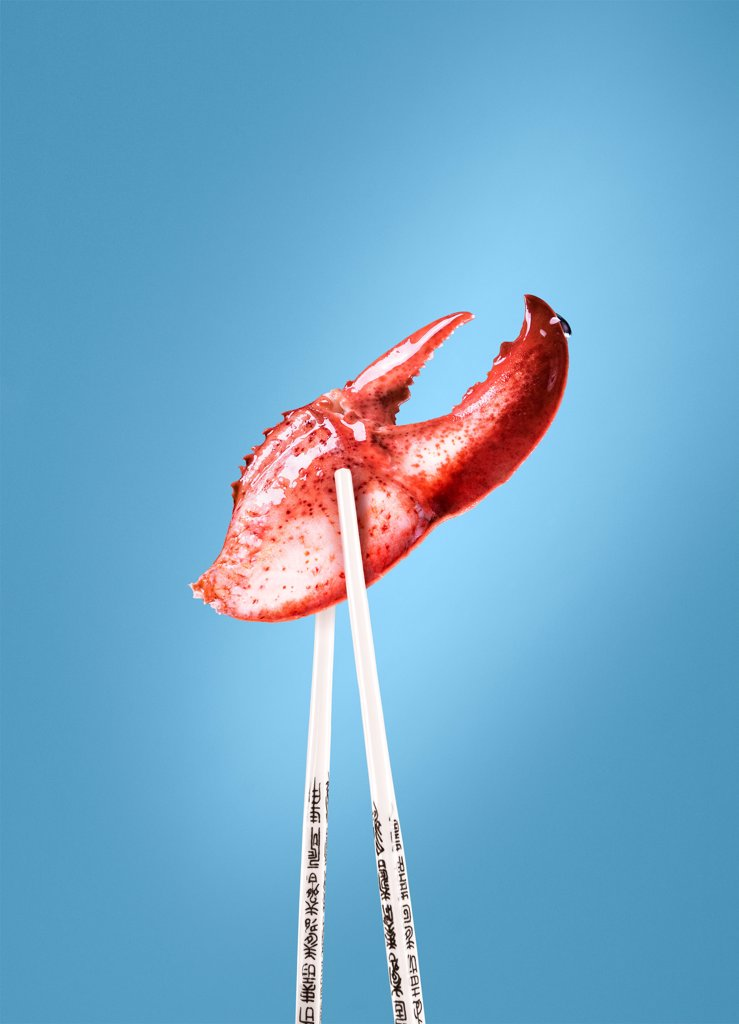 Stock Photo: 1838-14052 Lobster Claw Between Chopsticks