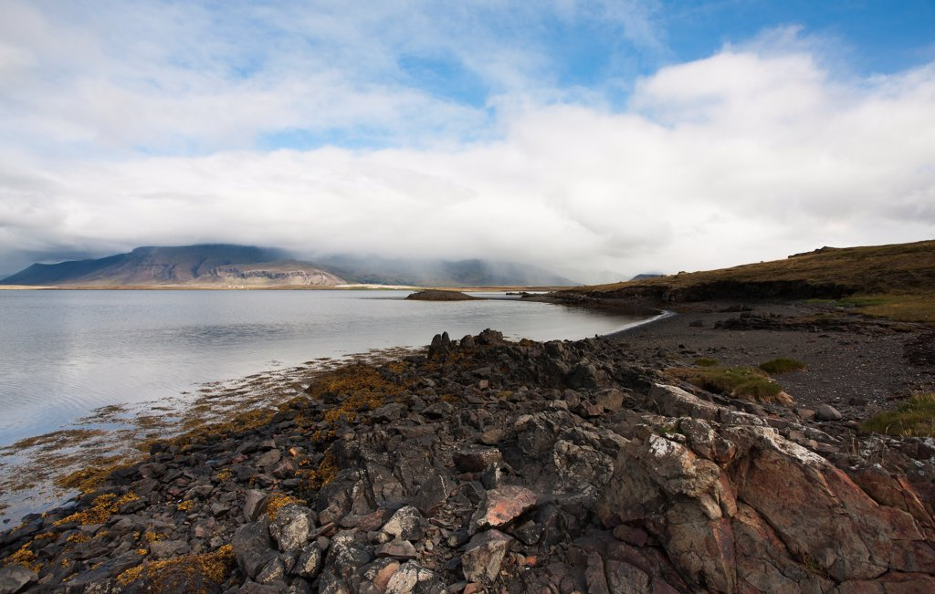 Stock Photo: 1838-14057 Rocky Landscape and Coast With Clouds, Iceland