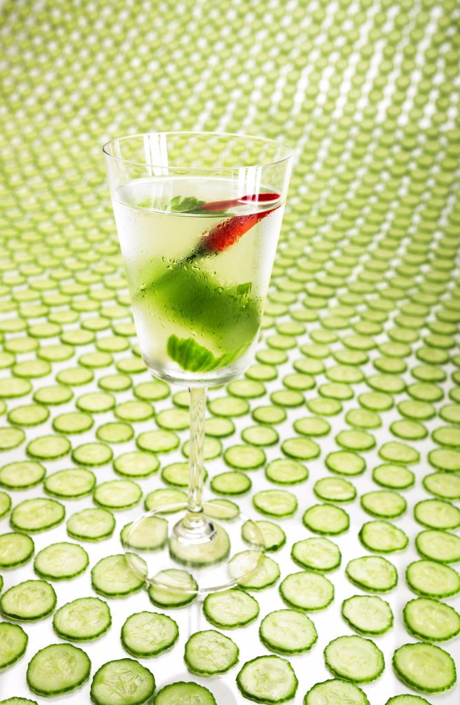 Stock Photo: 1838-14065 Coctail on Cucumber Slices