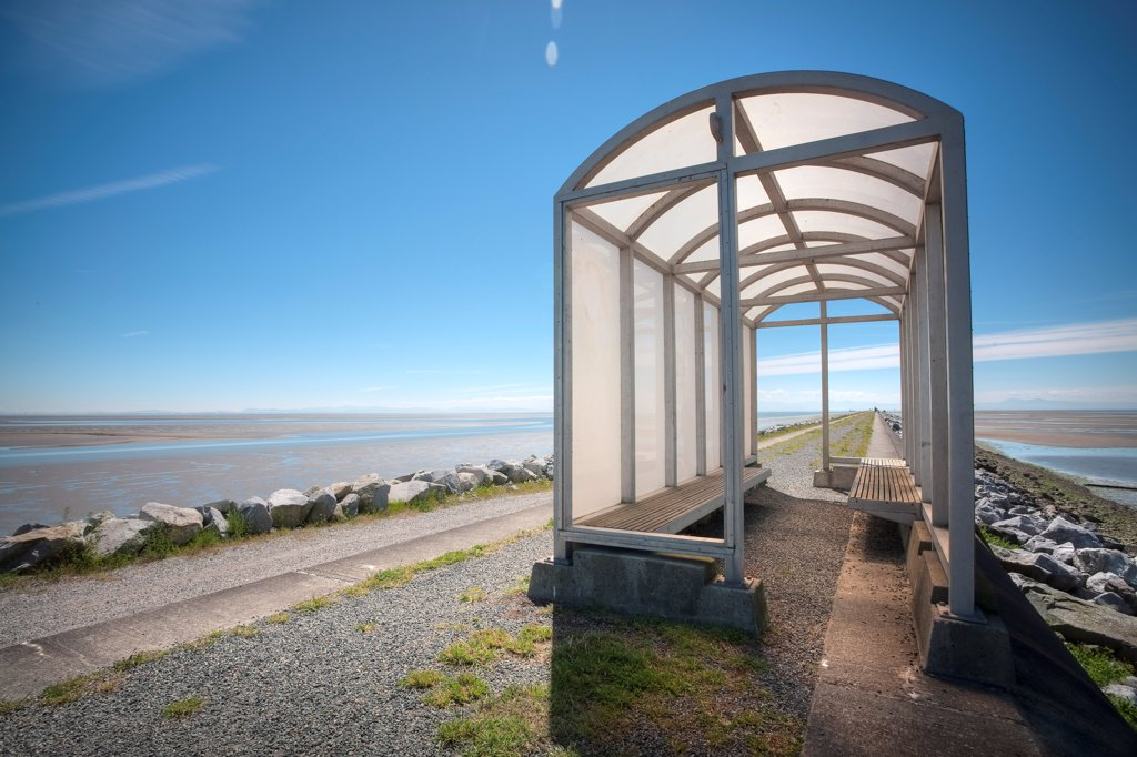 Stock Photo: 1838-14071 Sheltered Waiting Area Near Beach, Canada