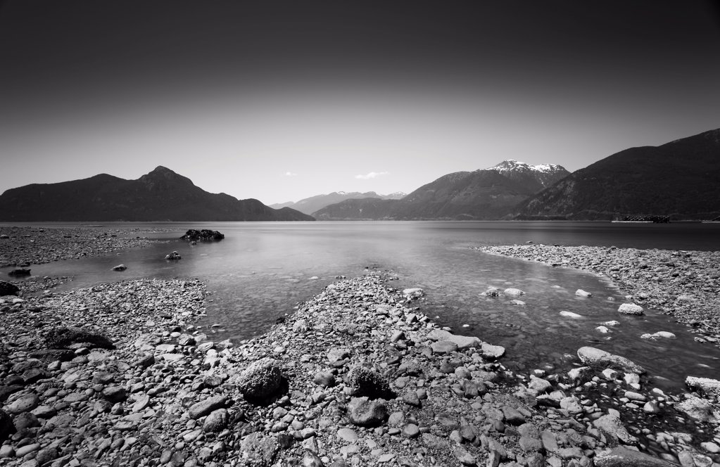 Stock Photo: 1838-14075 Rocky Coastline and Mountains, British Columbia, Canada