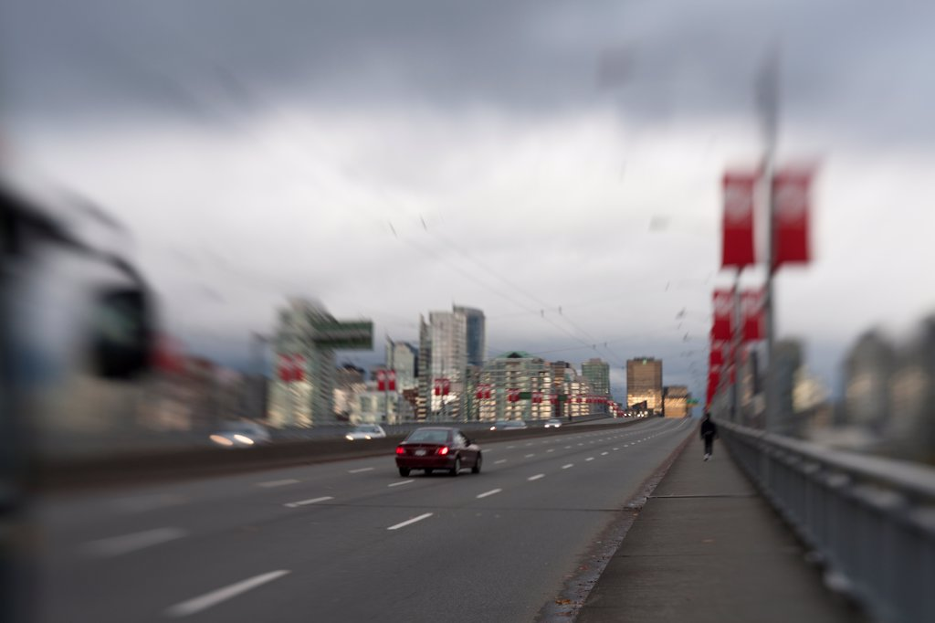 Stock Photo: 1838-14088 Highway and Cityscape, Vancouver, Canada