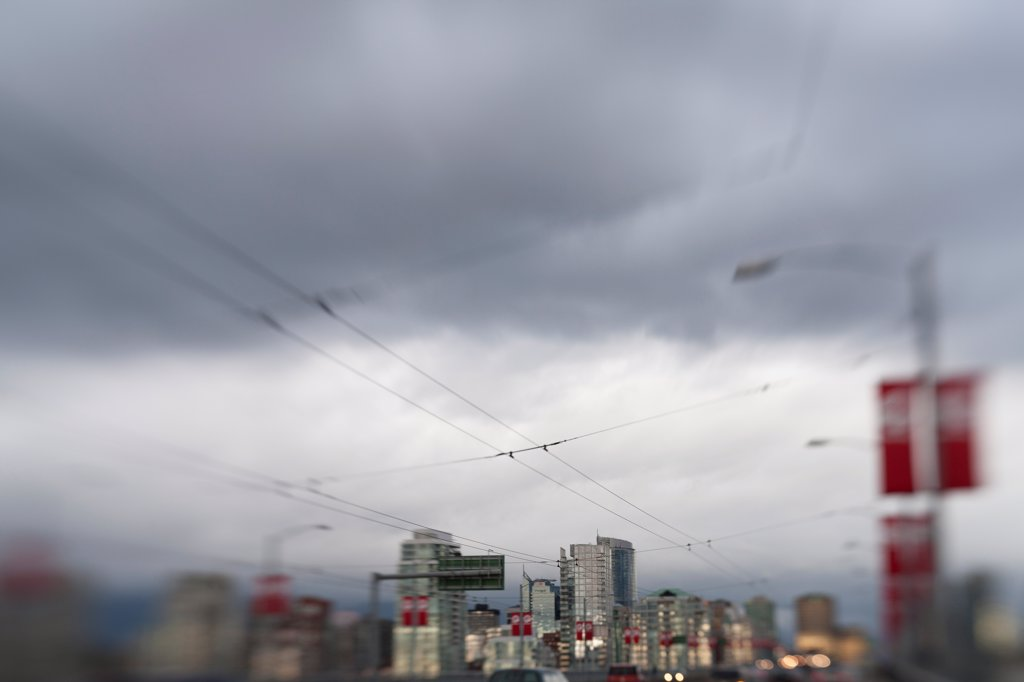 Trolley Cables and Urban Skyline, Vancouver, Canada : Stock Photo