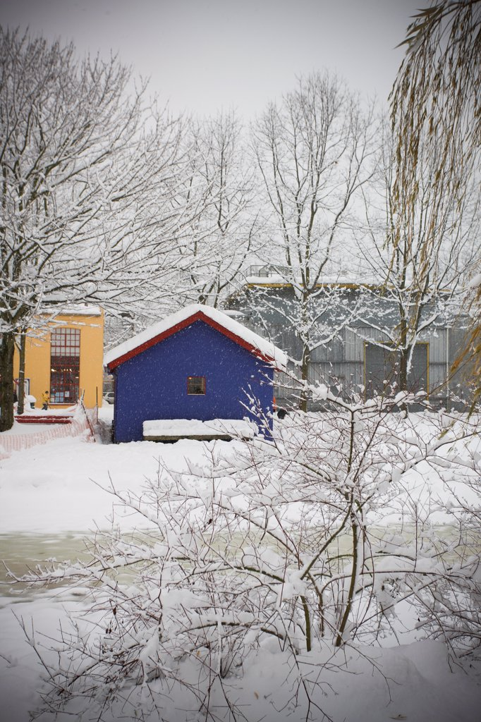 Three Houses in Winter, Vancouver, Canada : Stock Photo