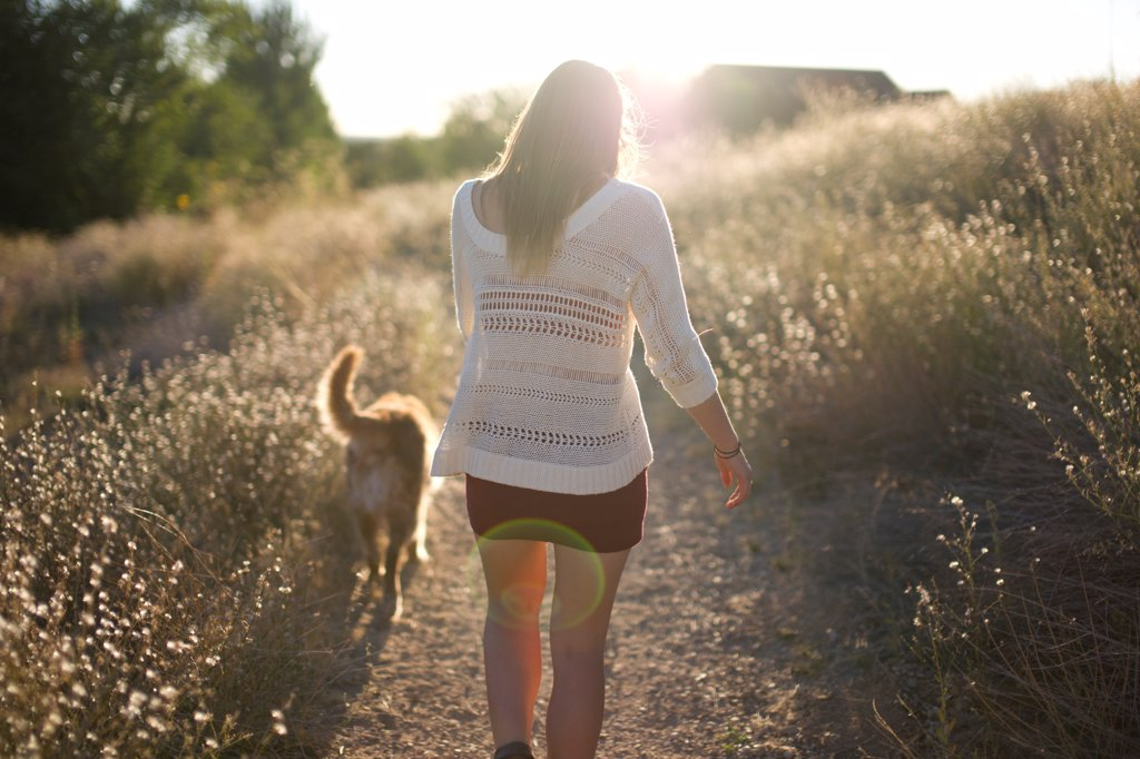 Stock Photo: 1838-14174 Woman Walking Dog, Rear View