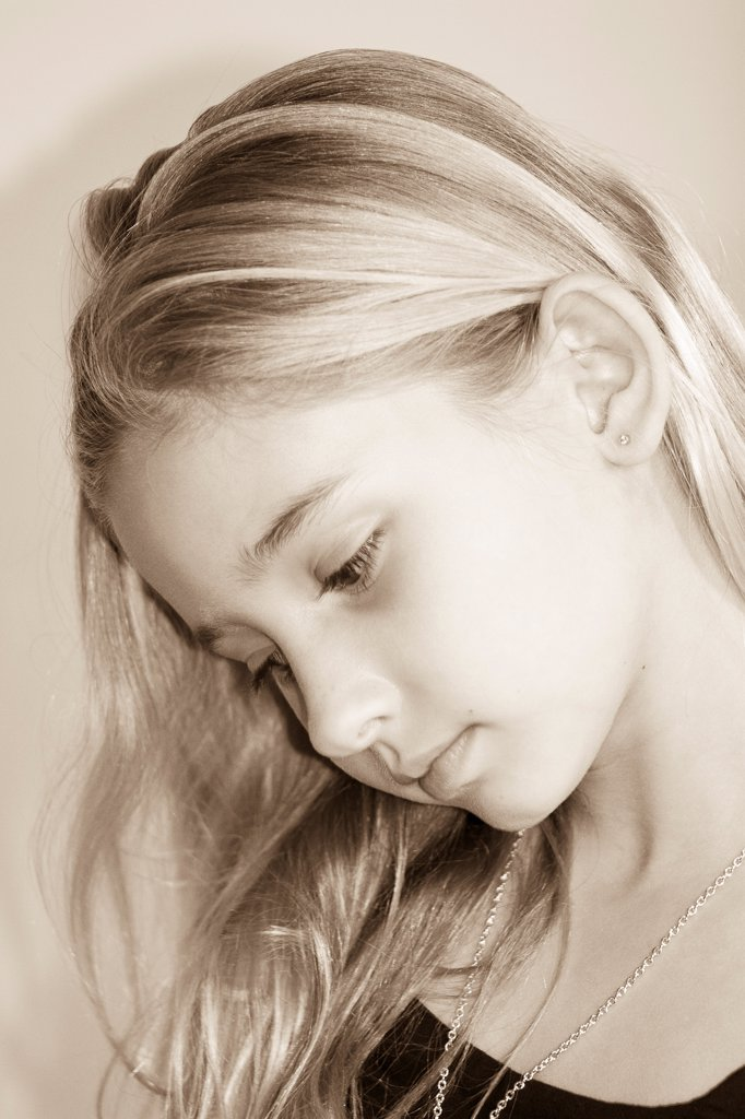 Young Blonde Girl Looking Down, Portrait : Stock Photo