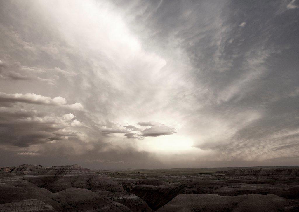 Panoramic View of Badland National Park, South Dakota, USA : Stock Photo
