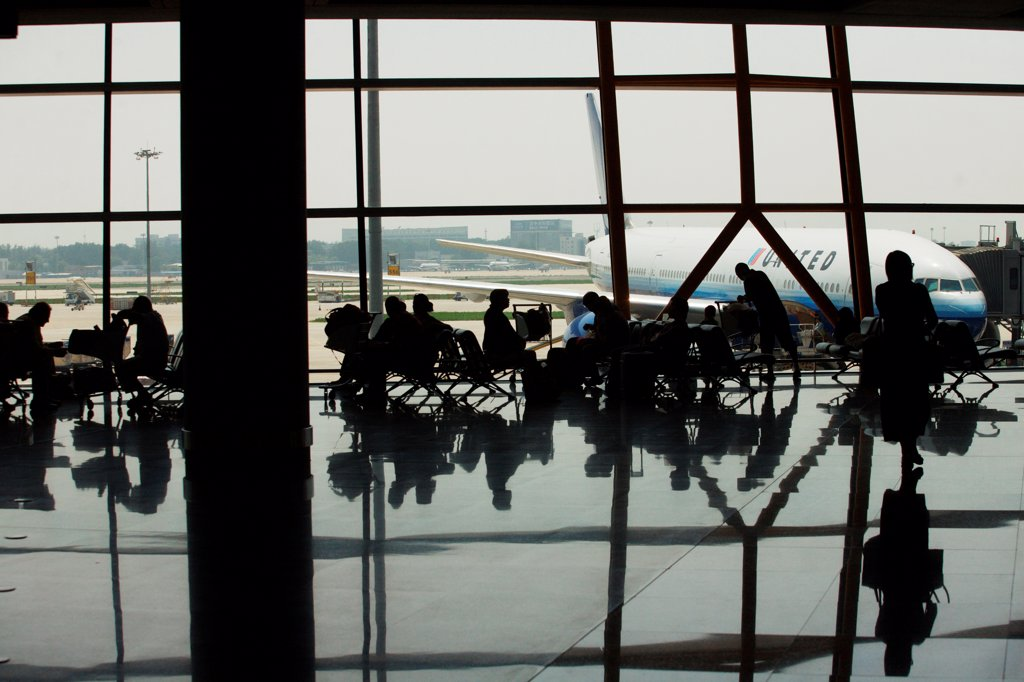 Stock Photo: 1838-14270 Passengers in Airport Waiting Area, Beijing, China