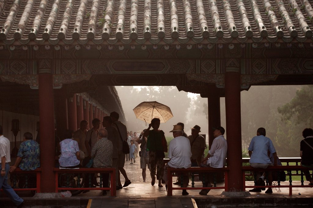 Stock Photo: 1838-14276 Group of People at Temple of Heaven, Beijing, China