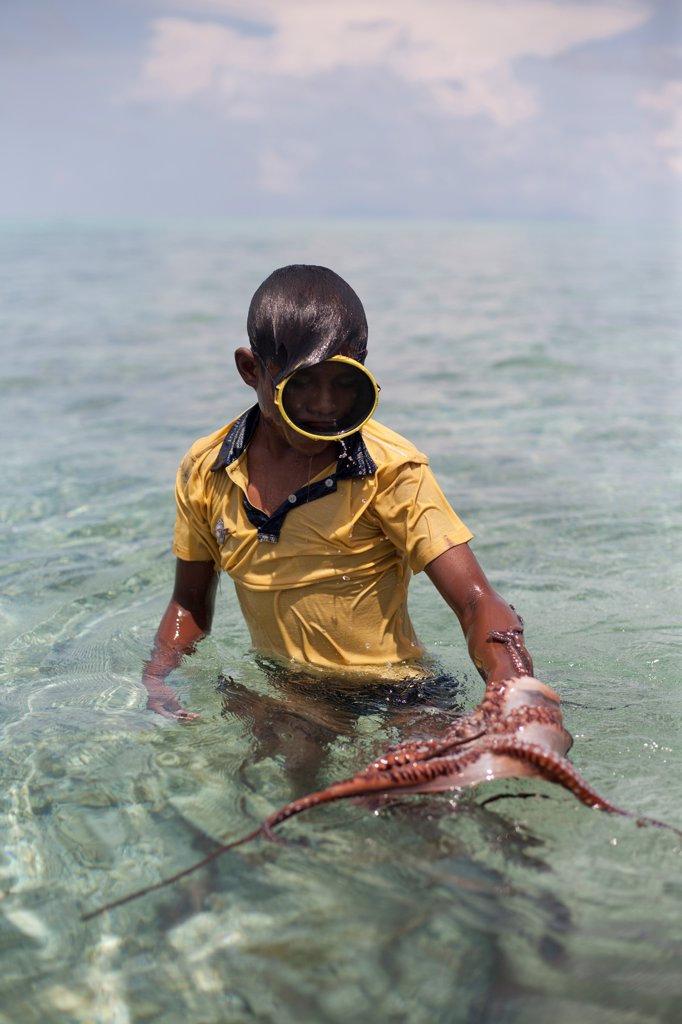 Stock Photo: 1838-14301 Boy Catching Octopus With Stick