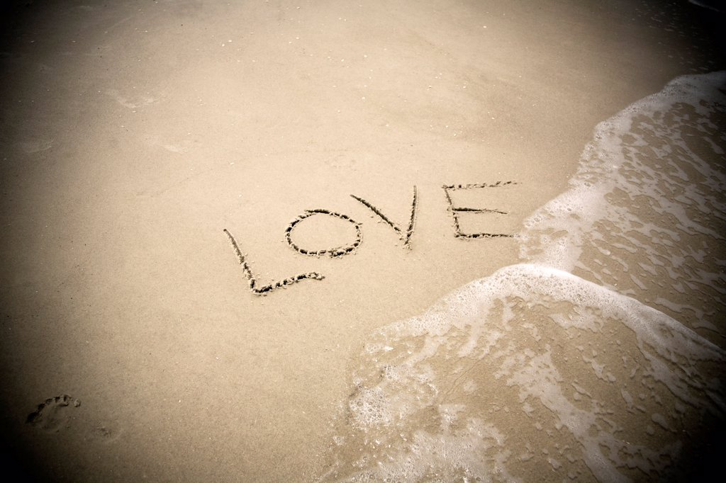 Stock Photo: 1838-14318 Love Written in Sand
