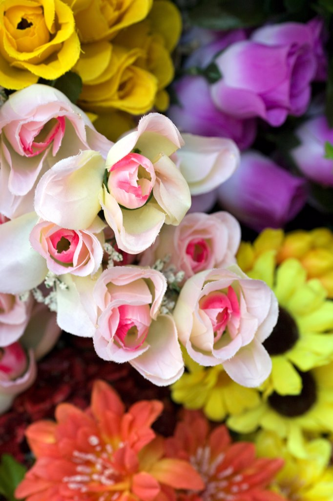 Stock Photo: 1838-14327 Artificial Flowers, Close-Up