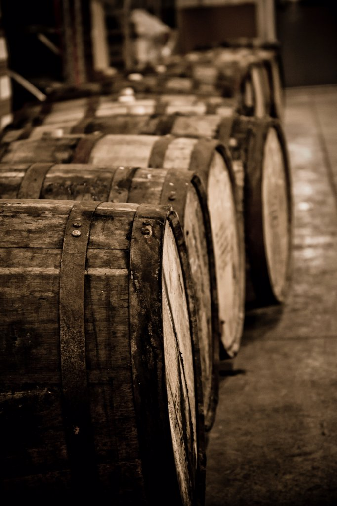Stock Photo: 1838-14391 Row of Whiskey Barrels