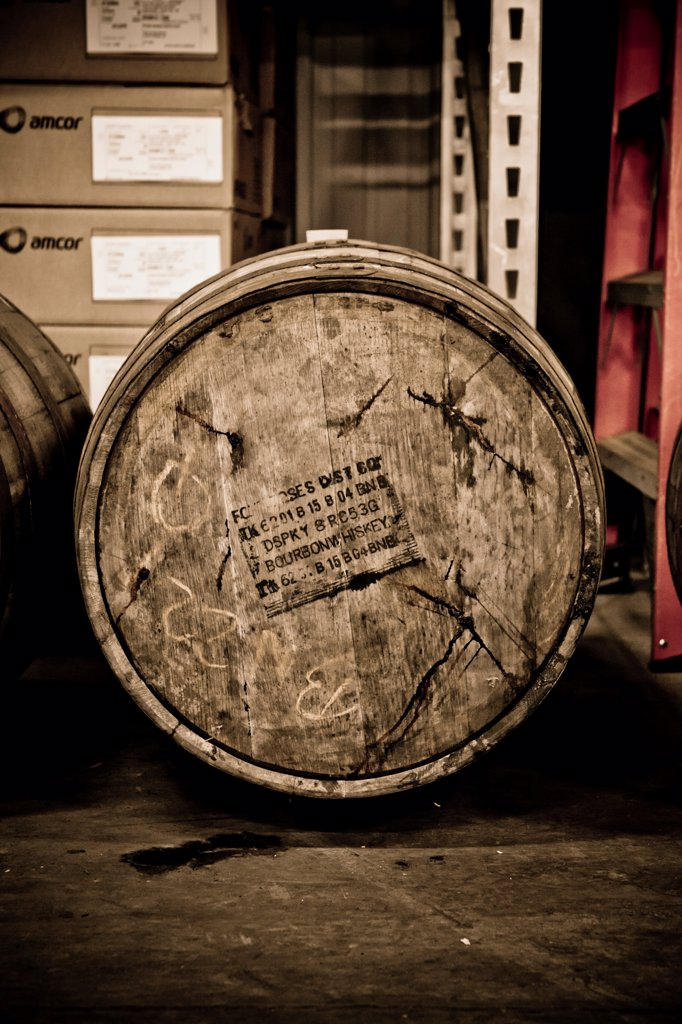 Whiskey Barrel, Side View : Stock Photo