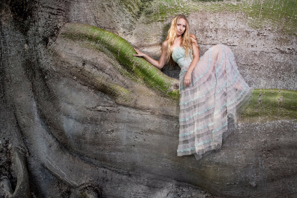 Stock Photo: 1838-14418 Woman in Long Dress Sitting on Large Tree, Portrait,