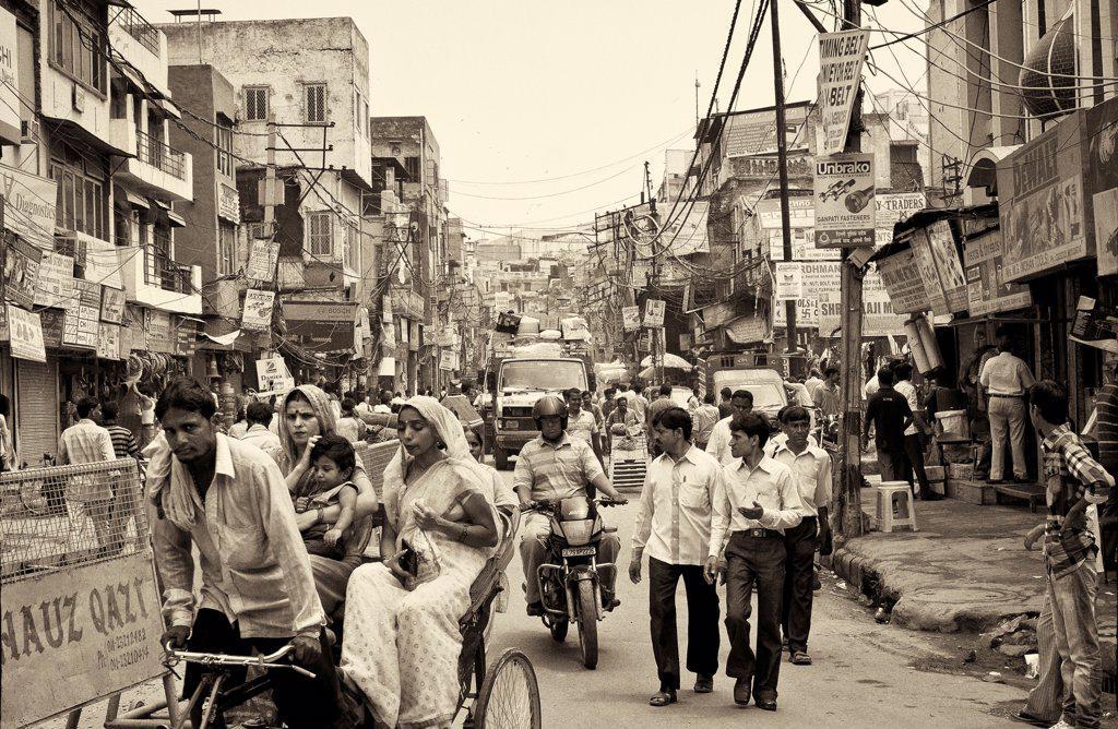 Busy Street Scene, New Delhi, India : Stock Photo