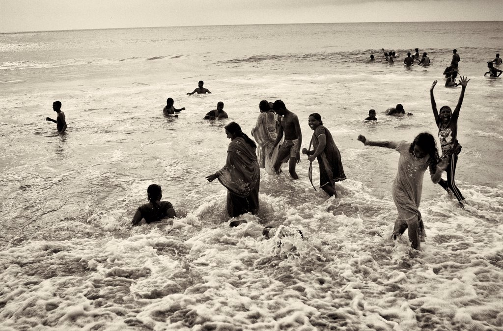 Stock Photo: 1838-14441 Group of People Playing in Ocean, India