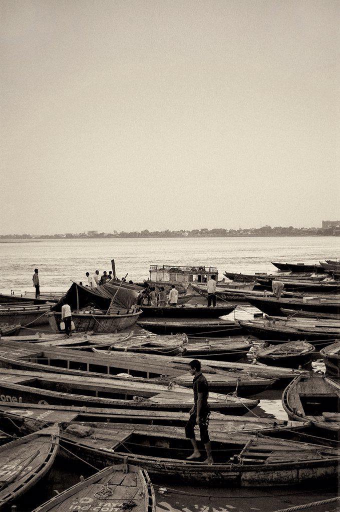 Stock Photo: 1838-14456 Boats on Ganges River, Varanasi, India