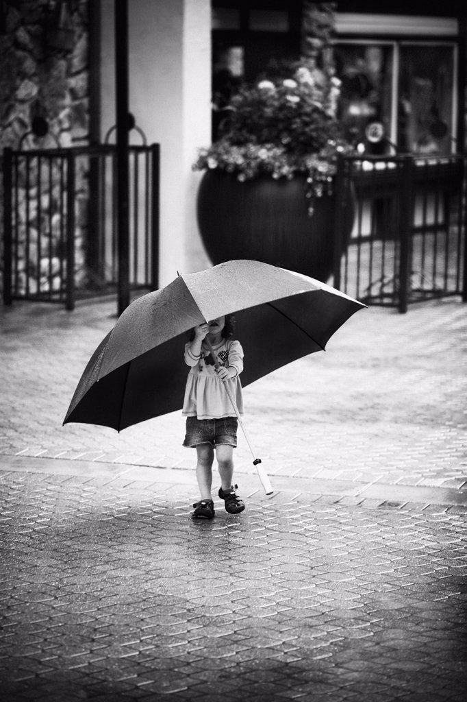 Little Girl Under Big Umbrella  : Stock Photo