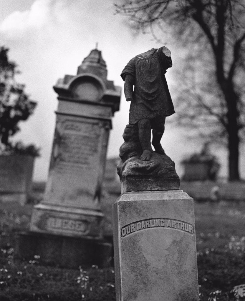 Stock Photo: 1838-1883 Headless Gravestone
