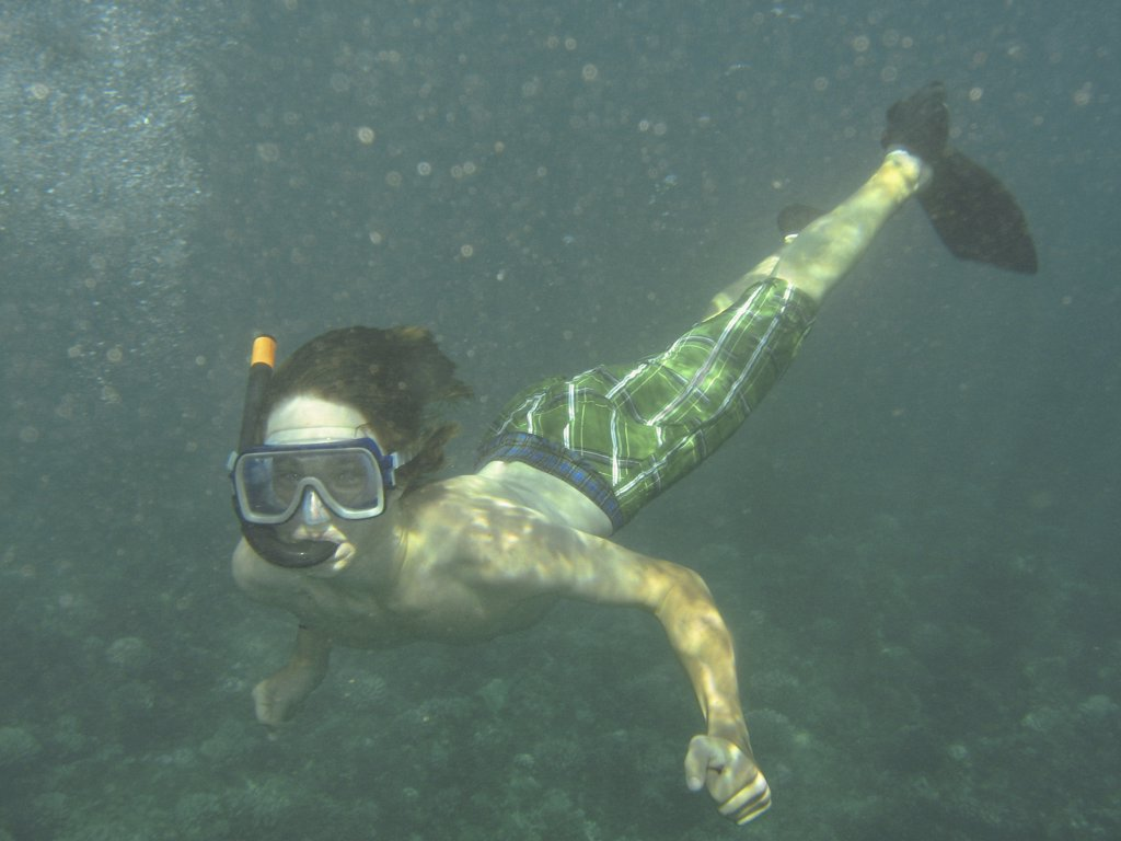 Stock Photo: 1838-2006 Young Boy Snorkeling