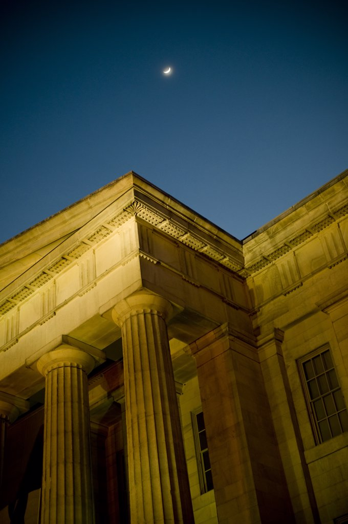 Moon and National Portrait Gallery, Washington DC  : Stock Photo