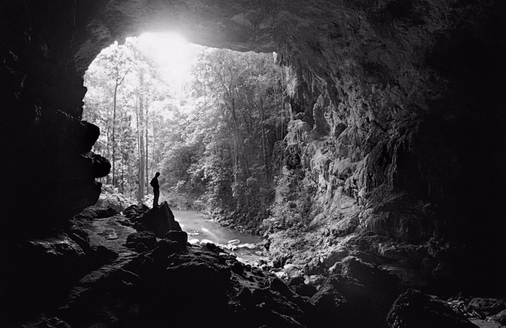 Man Standing In Rio Frio Cave : Stock Photo